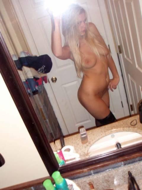 Jennifer the real blonde Las Vegas escort in bathroom